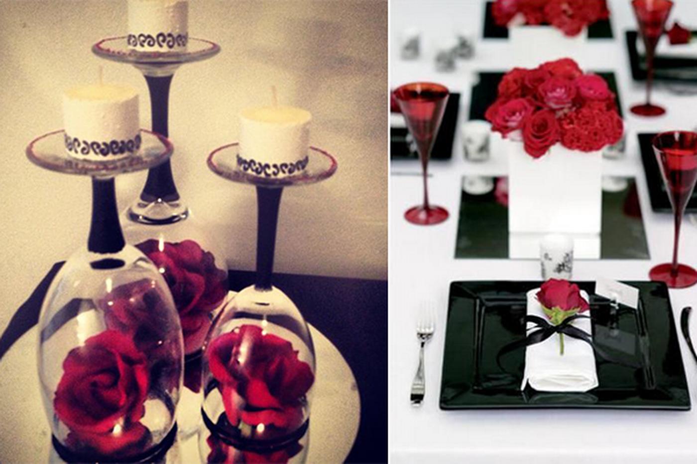 Idei pentru decoratiuni de nunta cu alb, negru si rosu